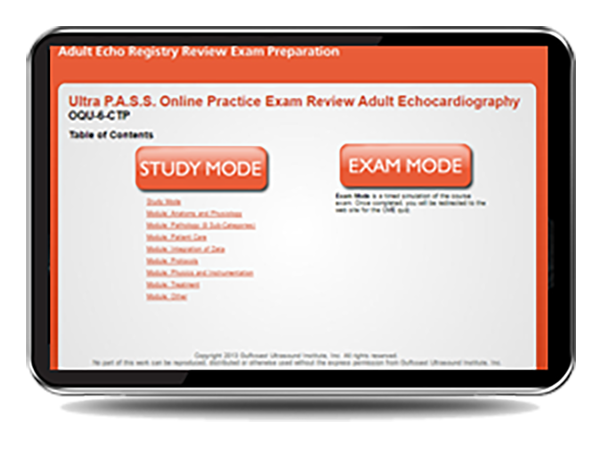 CME - ULTRA PASS Adult Echocardiography Interactive Mock Exam